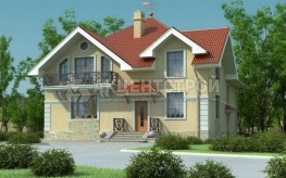 Проект двухэтажного дома с балконом