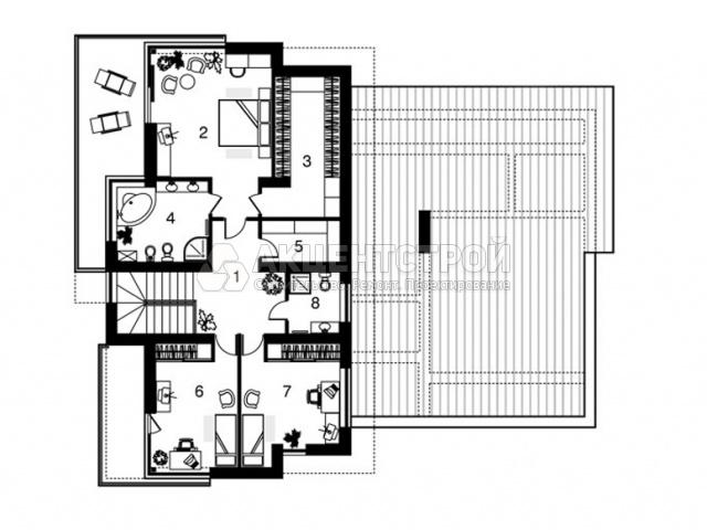Дом из кирпича и газобетона с сауной и гаражом