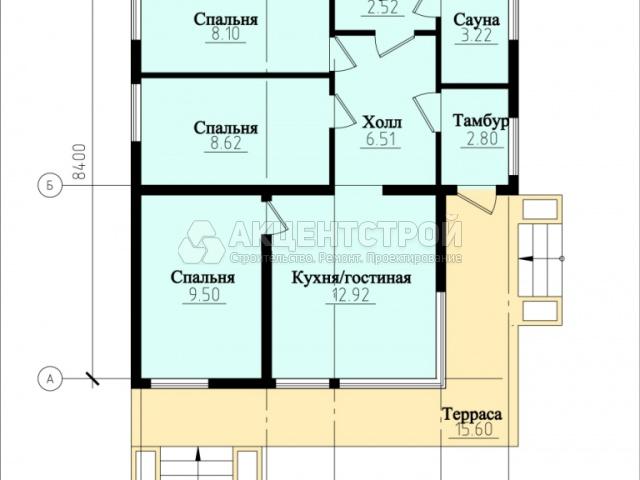 Бревенчатый дом 57,9 кв.м.