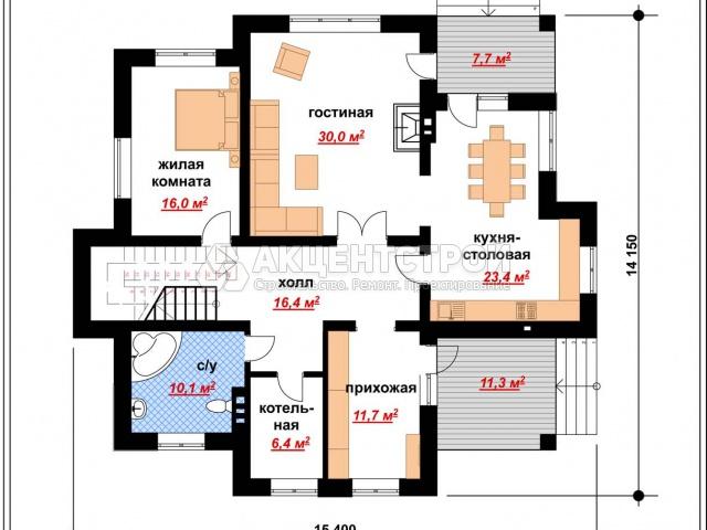 Дом из газобетона 258,7 кв.м.