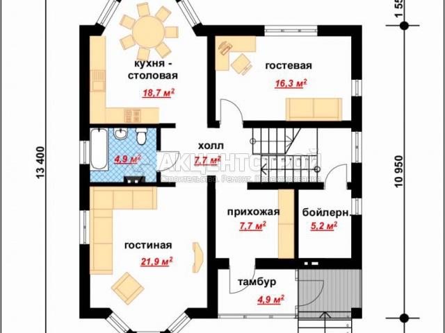 Дом из газобетона 172,7 кв.м.