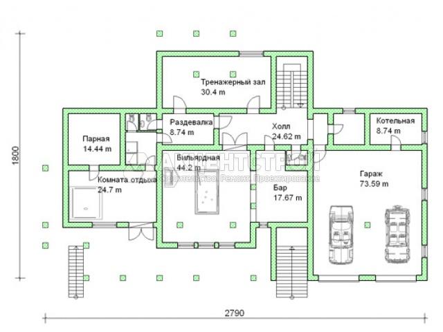Дом из бревен 550 кв.м.