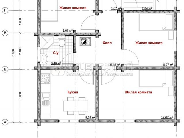 Дом из бруса 55 кв.м.